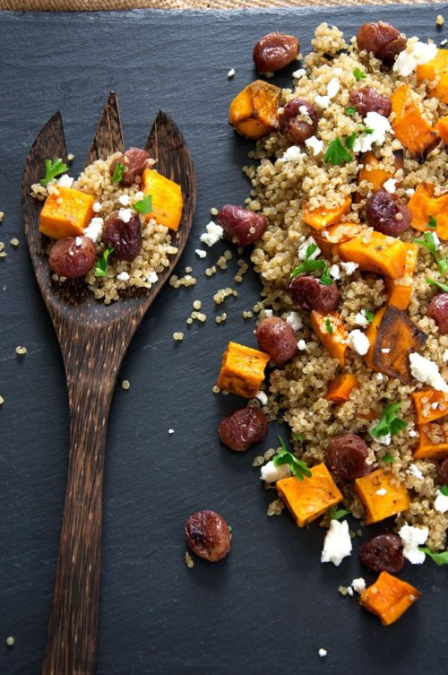Quinoa salad with butternut squash and grapes.