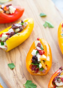 close up of stuffed mini peppers