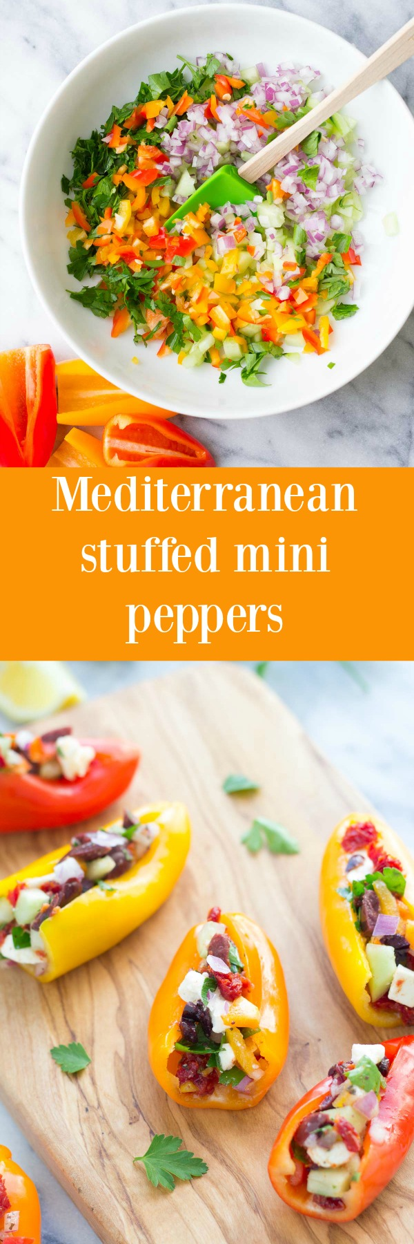 These Mediterranean Stuffed Mini Peppers are a healthy, vegetarian appetizer or snack with lots of crunch! With a Greek vinaigrette, feta cheese, and kalamata olives!