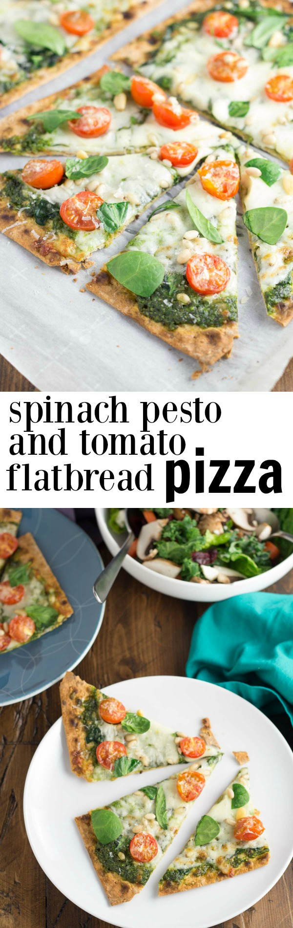Collage image of pesto pizza for pinterest