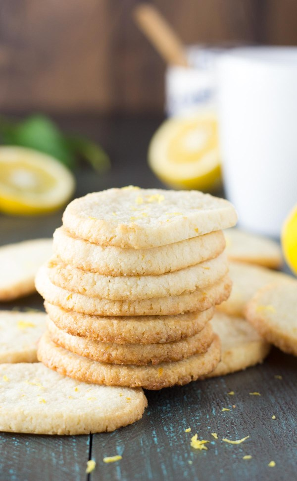 Stack of low carb lemon almond flour shortbread cookies. A simple and easy cookie recipe!