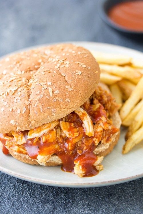 Slow Cooker BBQ Chicken on a burger bun