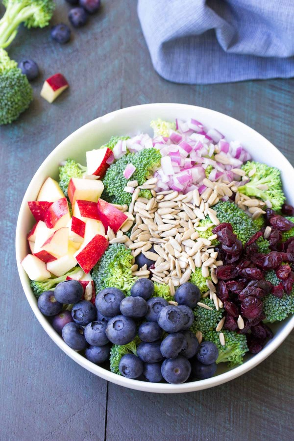 Ingredients for broccoli salad in a bowl.