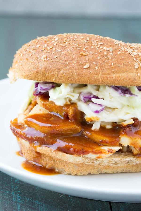 Crockpot BBQ Chicken Sandwich with coleslaw.