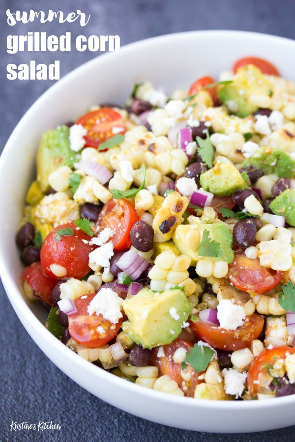 Best ever grilled corn salad! This healthy summer side dish is perfect for bbq's and potlucks. With black beans, avocado tomatoes and cheese.