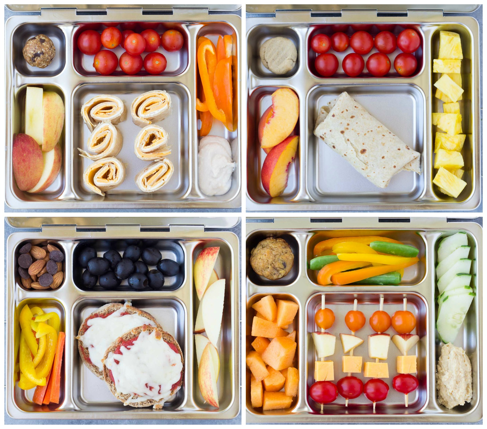 Four healthy school lunch ideas with fruit and vegetables