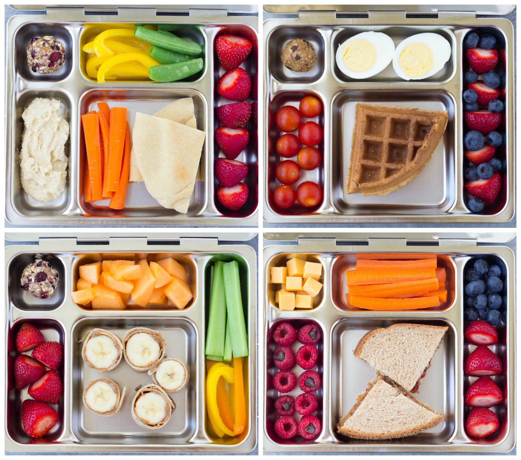 healthy school lunch idea examples with waffle, sandwiches, carrots, eggs, berries, fruits and other items
