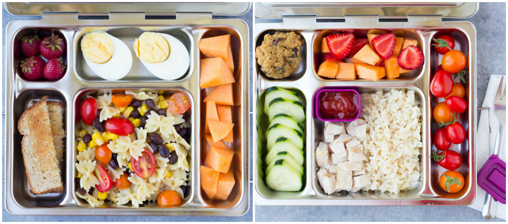 healthy school lunch ideas with pasta, eggs cantaloupe, tomatoes strawberries, chicken and rice and more
