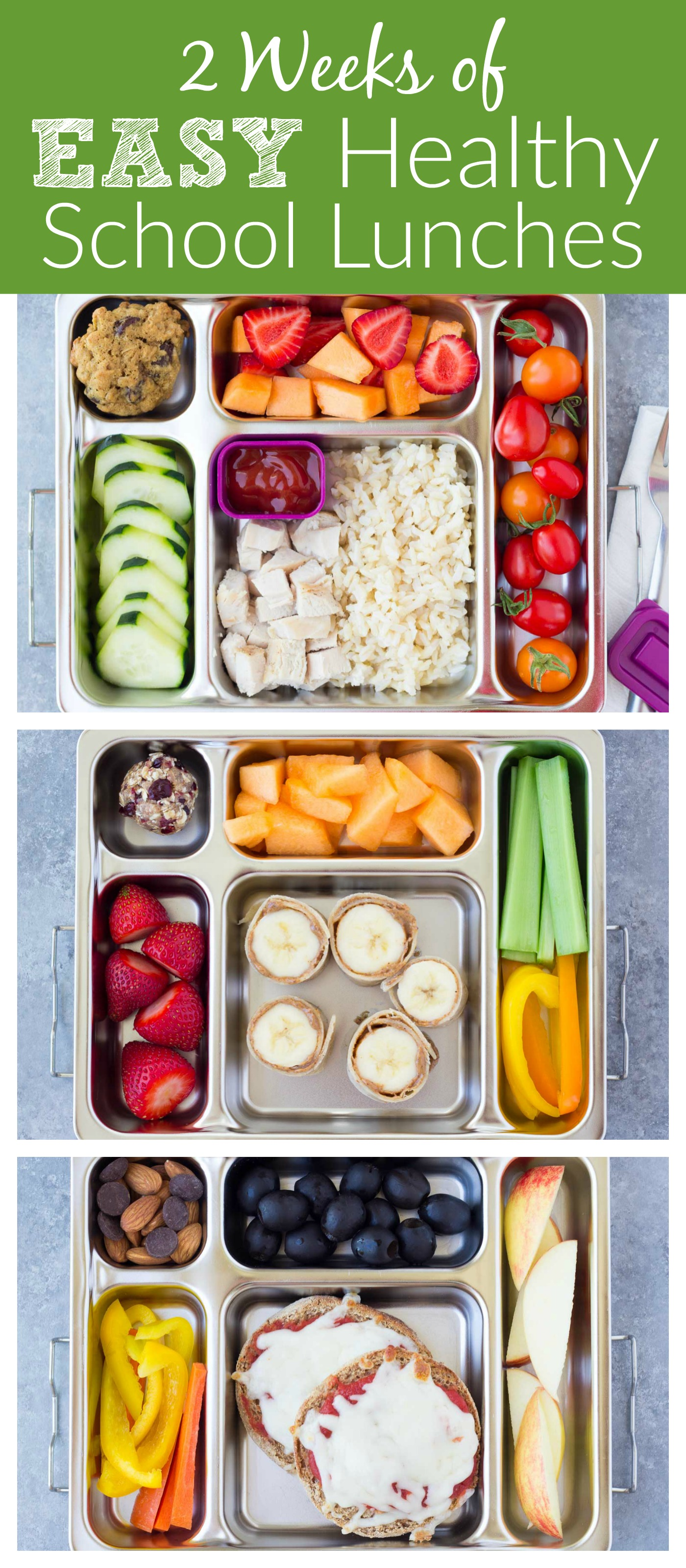 Two weeks of healthy school lunches for kids pinterest image of lunch boxes with text