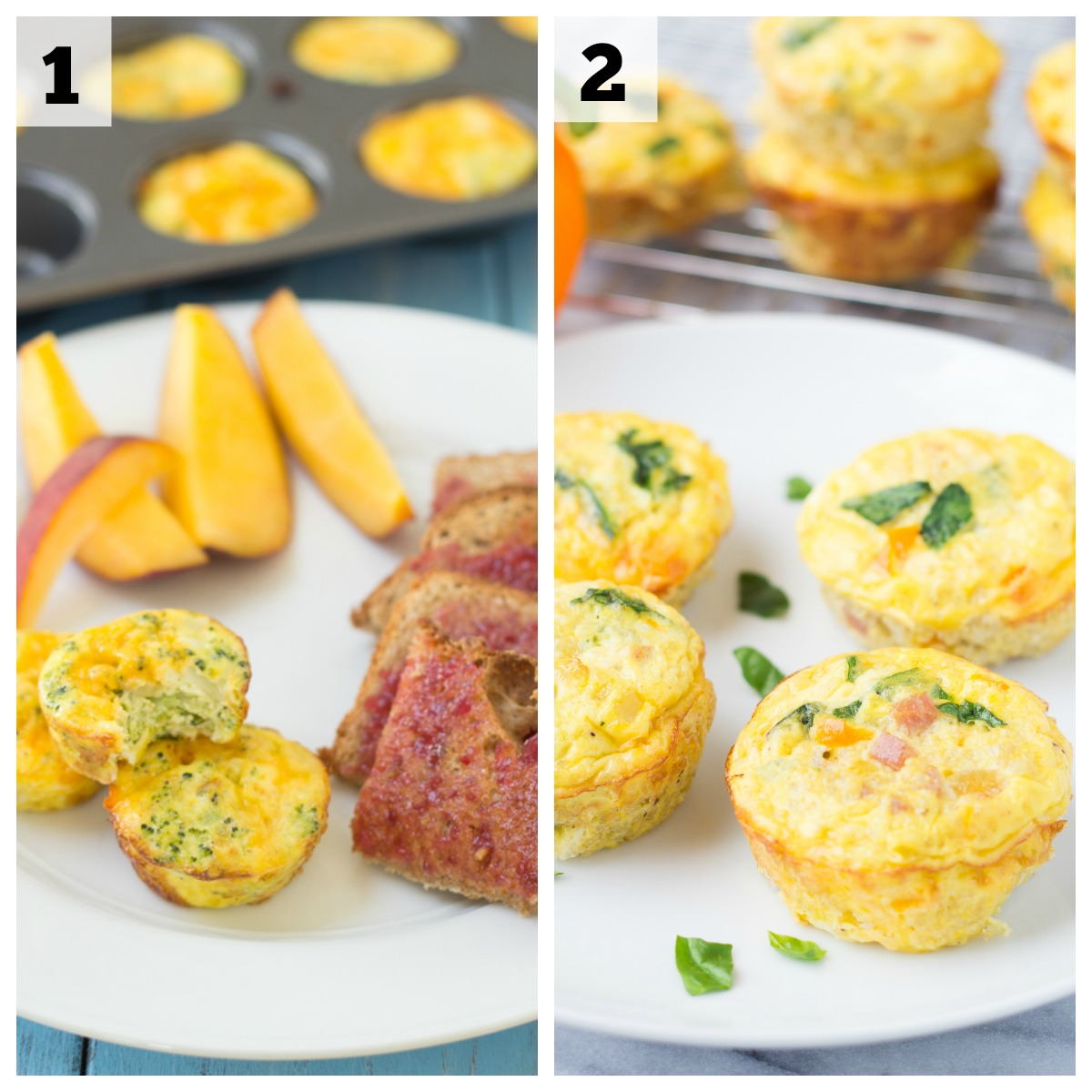 collage of egg frittatas