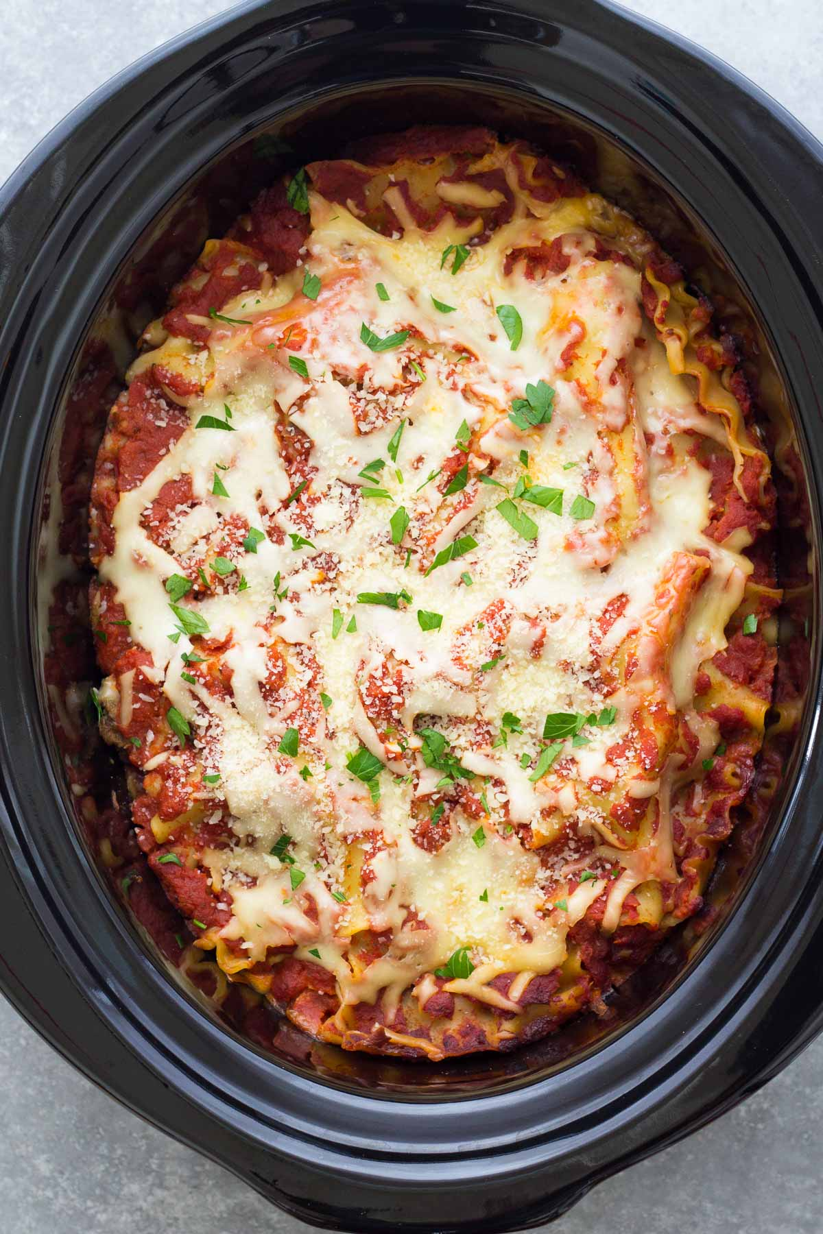 lasagna with meat sauce in a slow cooker
