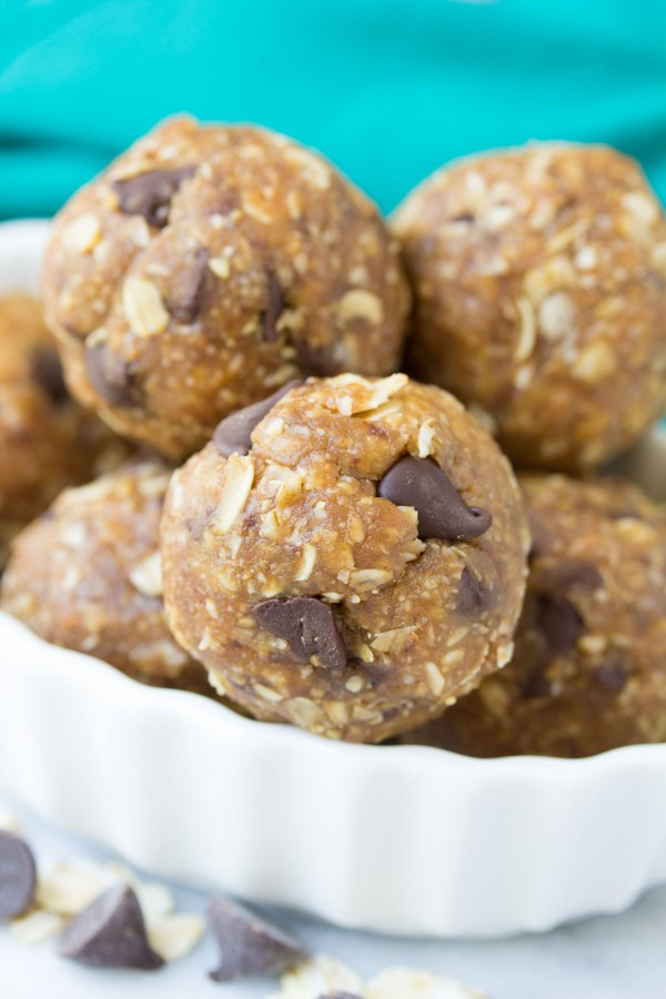 These Peanut Butter Chocolate Chip Cookie Energy Bites are our FAVORITE energy bite! They taste like little bites of (healthy) cookie dough! No bake, gluten free, refined sugar free.   www.kristineskitchenblog.com
