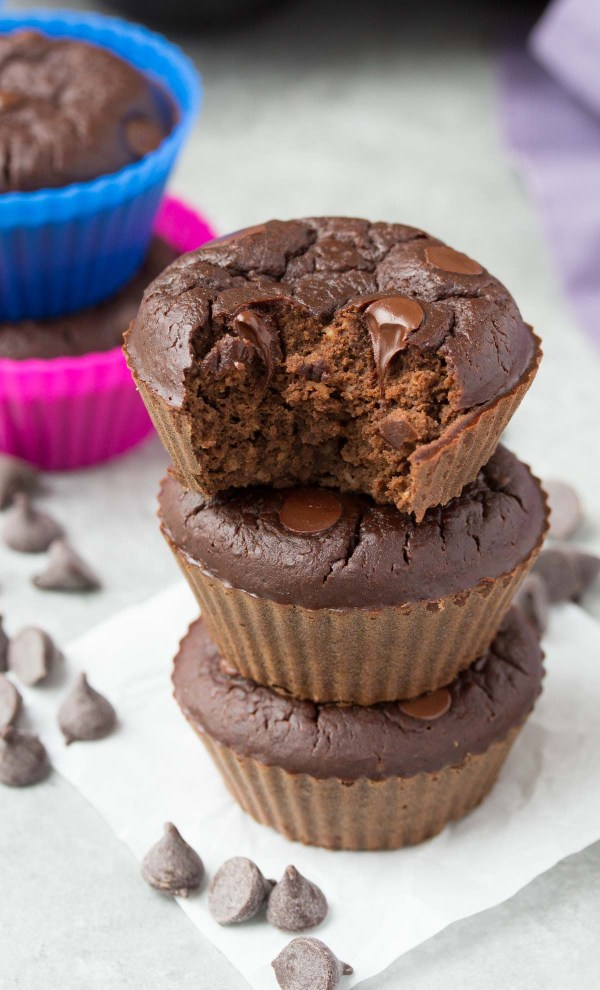 Chocolate Black Bean Blender Muffins - Mix these up in your blender in minutes! High protein with 7 grams of protein per muffin!   www.kristineskitchenblog.com