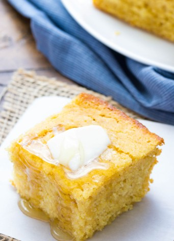 cornbread slice with butter and honey