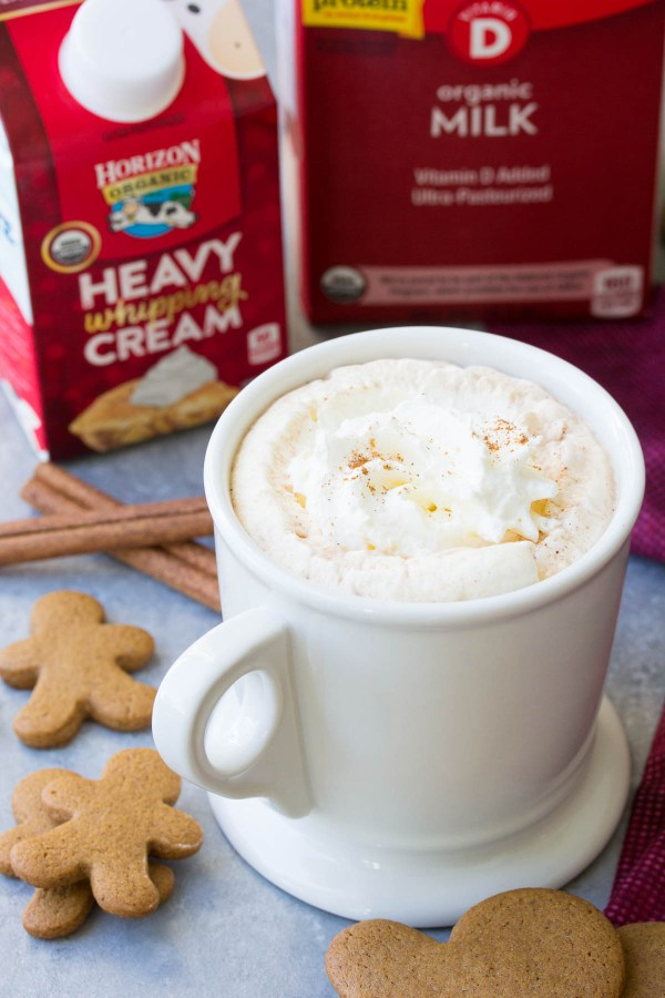 This easy microwave gingerbread hot cocoa is one of our favorite holiday treats! With just a few ingredients, it's quick to make and fun to drink!   www.kristineskitchenblog.com