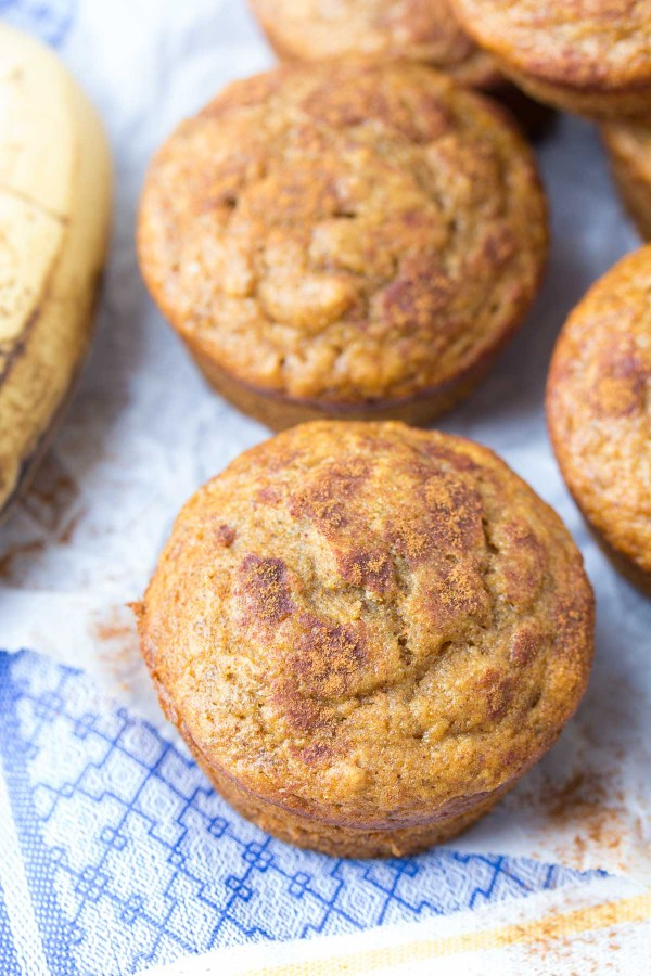One Bowl Cinnamon Banana Bread Muffins! Fast and easy to make, freezer-friendly, perfect for food prep! Plus, they're whole wheat, refined sugar free and healthy!   www.kristineskitchenblog.com