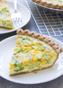slice of broccoli cheese quiche on a plate