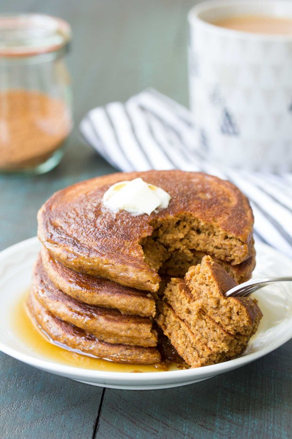These Healthy Gingerbread Pancakes are so good that you'll want to make them all year long! Made with white whole wheat flour, gingerbread spices and molasses, these fluffy gingerbread pancakes are my kids' favorite!