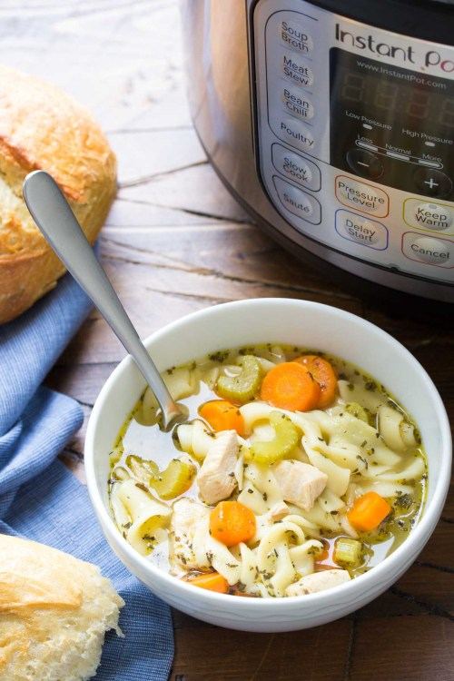 This easy Instant Pot Chicken Noodle Soup recipe is a healthy one pot meal that's so easy to make in your pressure cooker! Stovetop cooking instructions also included.