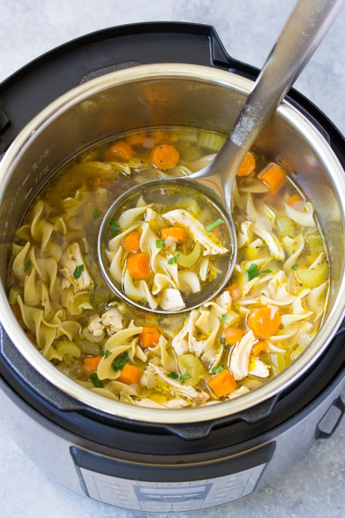 Homemade Chicken Noodle Soup in an Instant Pot.