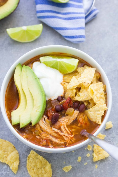 Delicious Instant Pot Chicken Tortilla Soup recipe made with black beans.