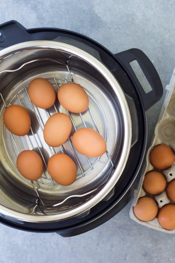 Eggs on a steamer rack trivet in an Instant Pot.
