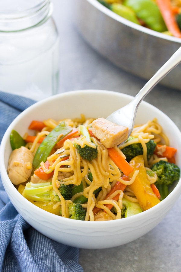 These Teriyaki Chicken and Veggie Noodle Bowls are a one pot dinner that the whole family will love! A slightly sweet, refined sugar-free homemade teriyaki sauce makes vegetables more appealing to kids! Meal prep the ingredients ahead of time to help get dinner on the table faster.