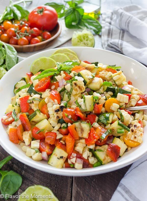 Basil Lime Charred Corn and Zucchini Salad