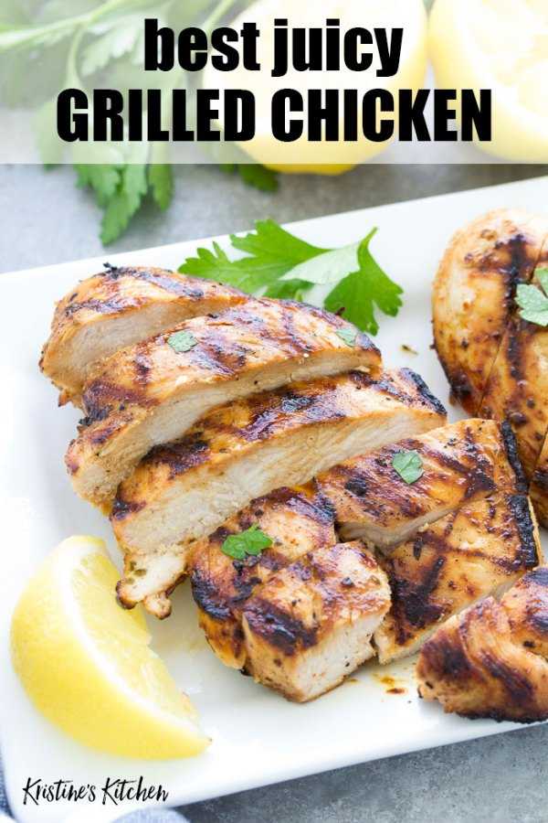grilled chicken on serving plate with text caption best juicy grilled chicken
