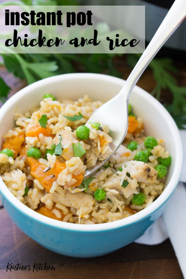 Easy Instant Pot Chicken and Rice is a family dinner favorite. Brown rice, chicken and vegetables all cook together in your Instant Pot!