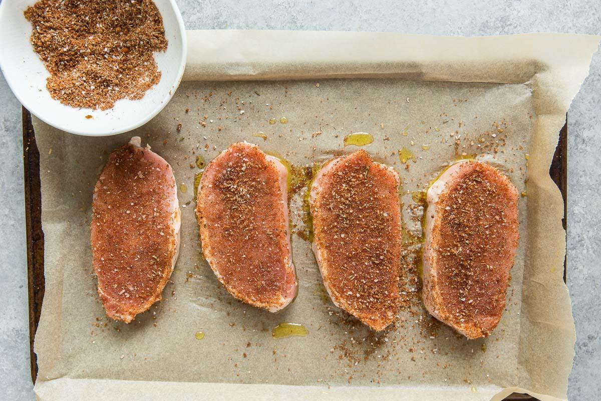 pork chops rubbed with seasonings mixture