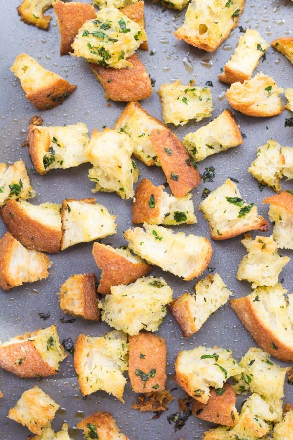 Crunchy homemade croutons baked in the oven.