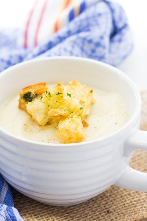 Homemade croutons and potato soup.