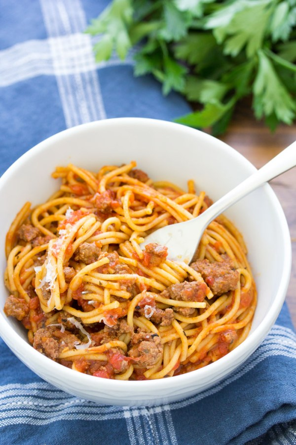 Instant Pot Spaghetti with meat sauce and pasta in a bowl