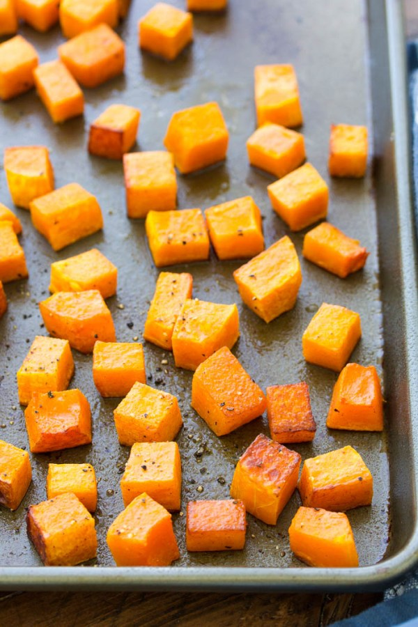 Easy Cinnamon Roasted Butternut Squash Recipe on baking sheet.