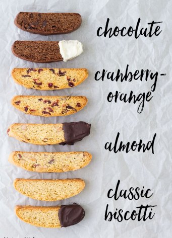 Four flavors of biscotti cookies. Classic biscotti, almond biscotti, chocolate biscotti and cranberry orange biscotti.