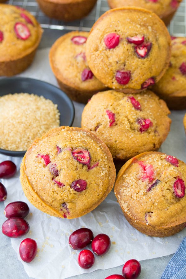 Cranberry orange muffins made with fresh cranberries.