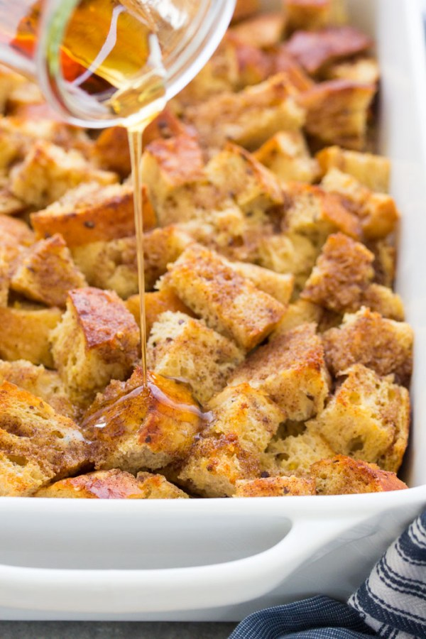 Baked french toast casserole with syrup