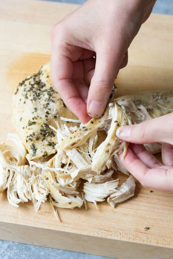 How to shred chicken by hand.