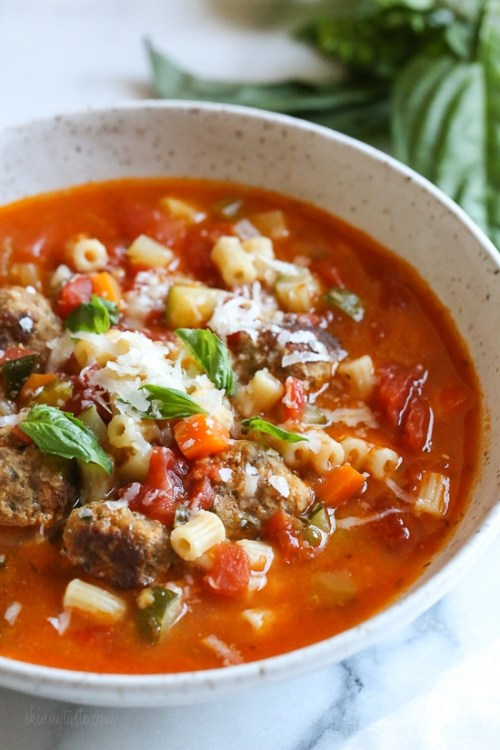 Instant Pot Turkey Meatball and Ditalini Soup