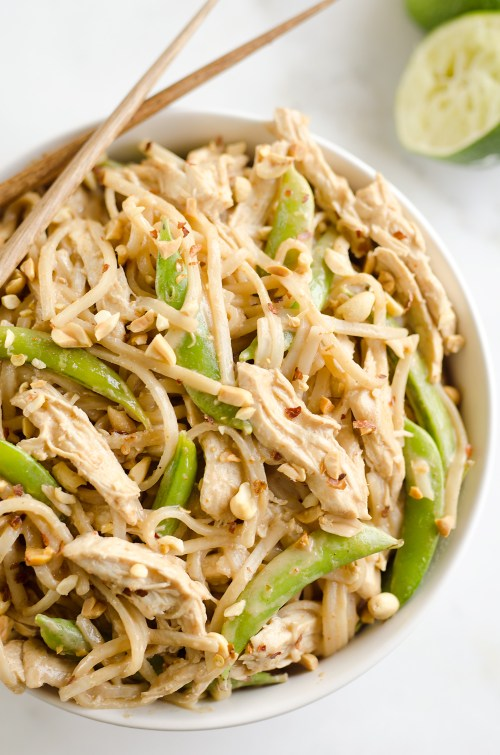 Pressure Cooker Thai Peanut Chicken Noodles
