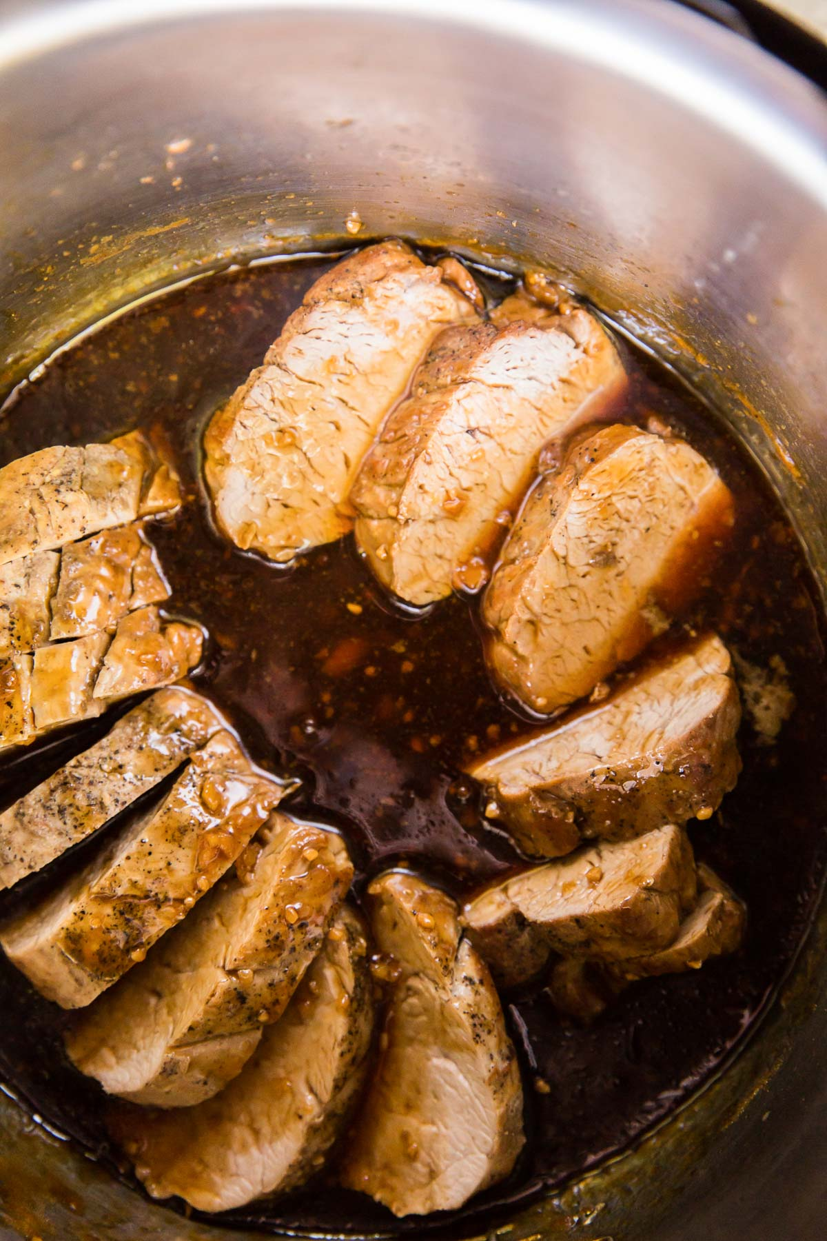 sliced pork tenderloin in instant pot with honey garlic sauce