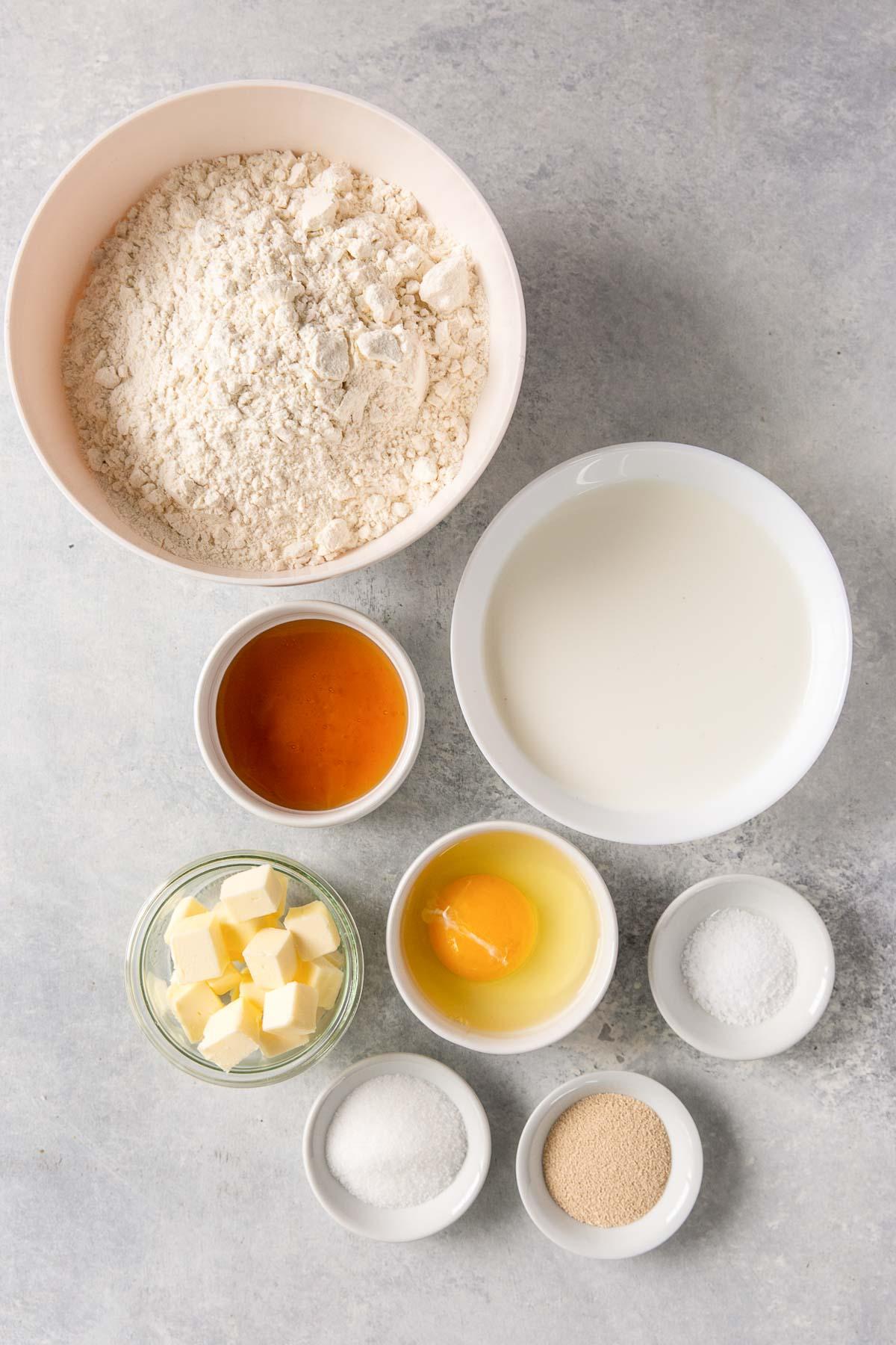 ingredients for honey yeast rolls