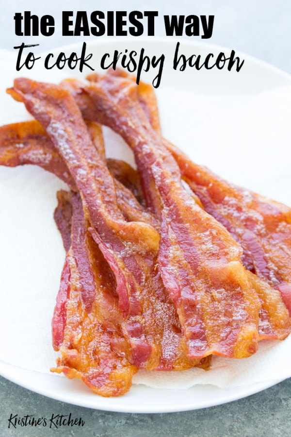 Crispy oven cooked bacon on a plate. How to cook bacon in the oven.