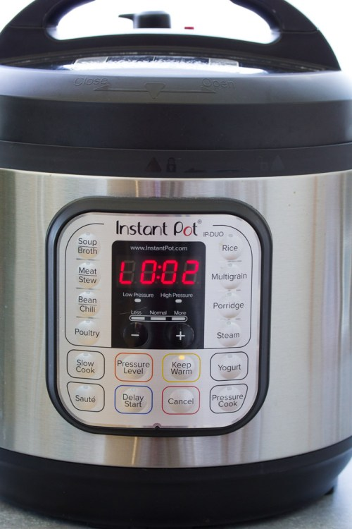 Instant Pot display after the cooking cycle has ended.
