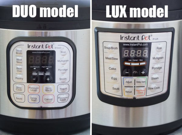 The front displays and buttons on the Instant Pot DUO model and Instant Pot LUX model.