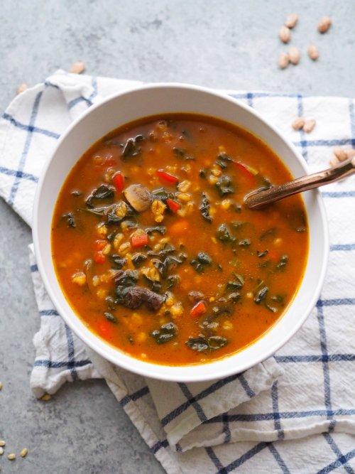 Instant Pot Vegan Mushroom Barley Soup with Pumpkin