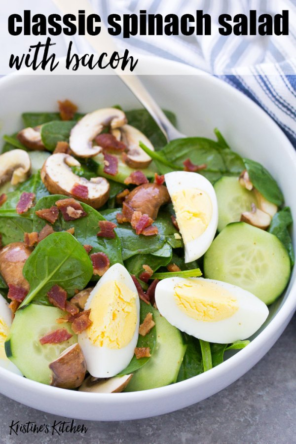 Classic Spinach Salad with Bacon and Eggs