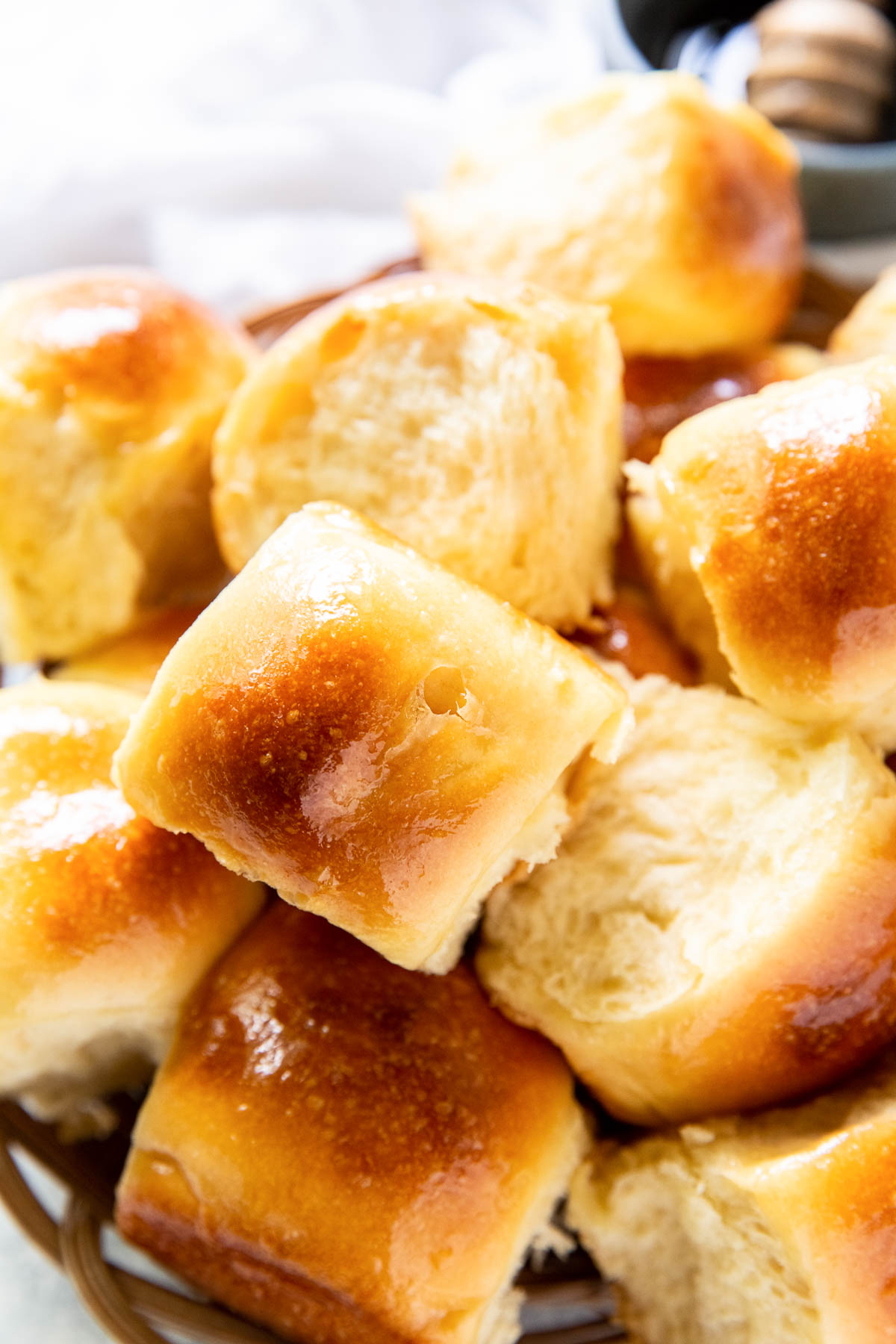 close up of soft fluffy rolls