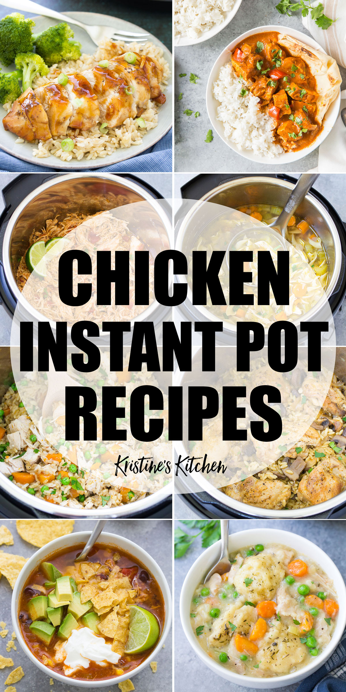 collage of instant pot chicken recipes photos